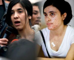 Nadia Murad (left) and Lamiya Aji Basharr ©AP Images/ European Union-EP & ©Enric Vives-Rubio/Público, via: http://bit.ly/2ePrE0a