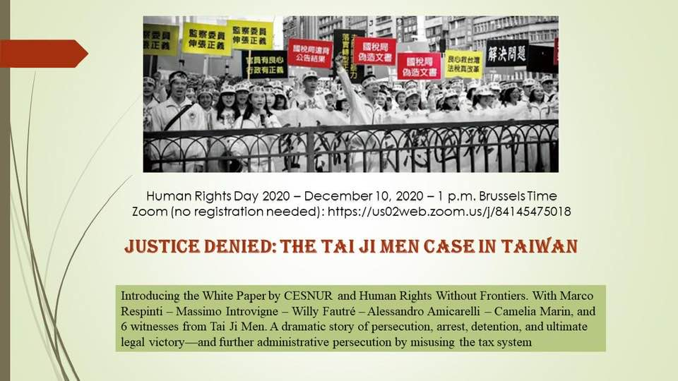 WEBINAR 10 December/ Justice denied: The Case of Tai Ji Men in Taiwan